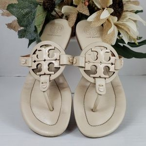 Tory Burch Metal Ivory Miller Sandals Size 6.5